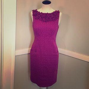 Taylor purple shift dress w/ pockets &flowers